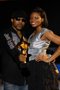 Banky W. poses with his 'headie' and co-host, Kemi Adetiba Photo: HHW