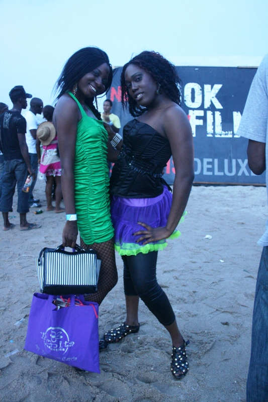 Rapper/singer Felyne (in the purple creation) with her manager (a vision in green) but they get marks for trying!