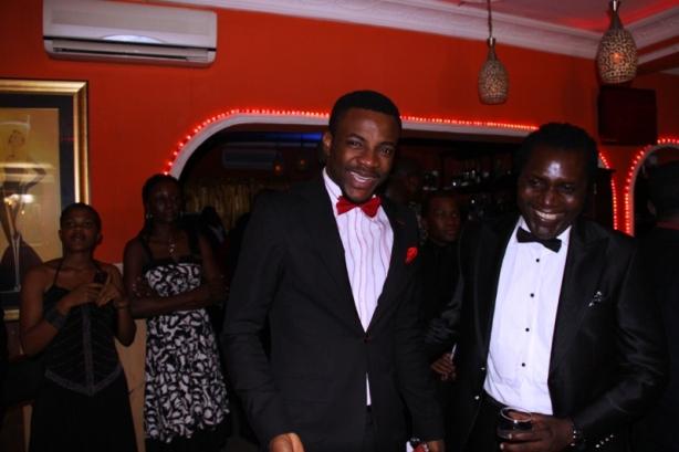 Ebuka and Steve Babaeko share a joke
