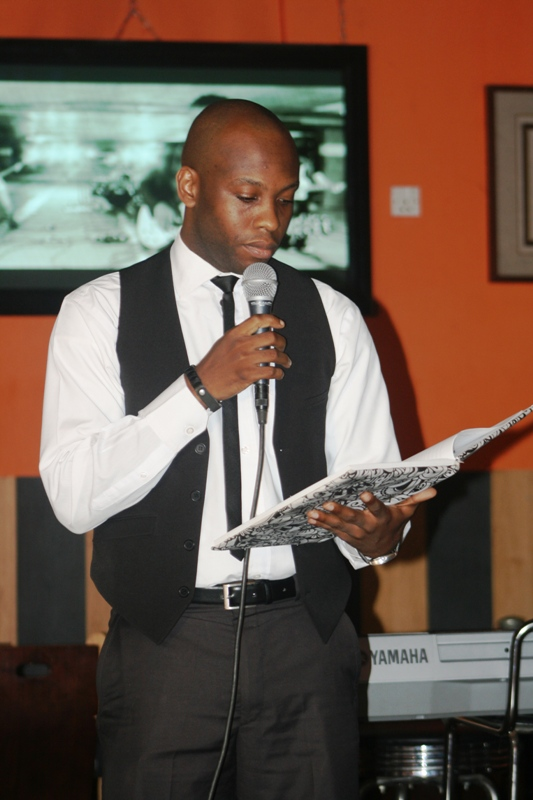 Chiedu recites some poetry...for charity perhaps?