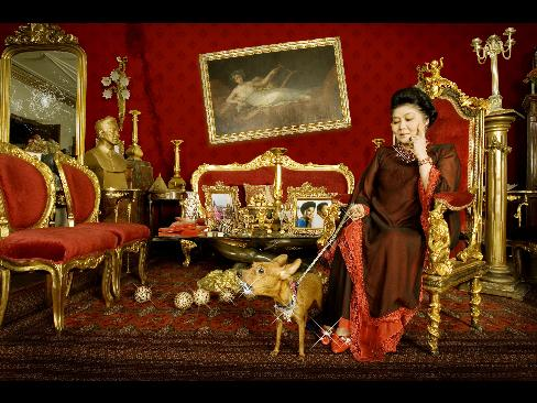 An Imeldific, gold-plated sitting room...only the best for a photo shoot!