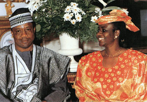 Horribly tiny photo really, but it's obvious that Mrs. Babangida has a certain something (and it's not just her smile) (photo ibrahimbabangida.com)
