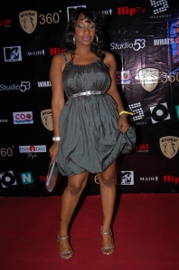 The Little Grey Dress, the LBD's more subtle cousin, as woen by Arafa Ukonga at Ikechukwu's album launch (Photo NEXT)
