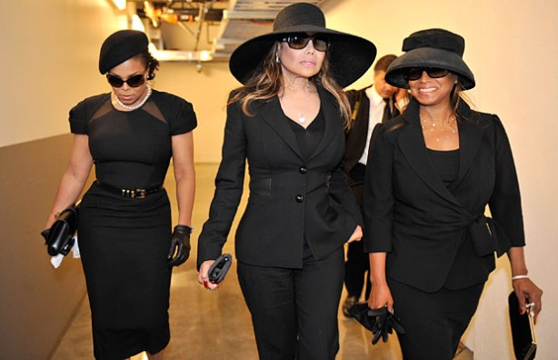 Janet has really come into her own...pictured here with her sisters La Toya and Reebie at MJ's memorial service last month (Photo Getty Images)