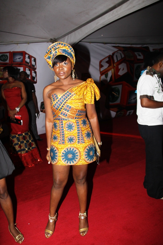 There isn't much actual dress here so we are guessing that Omawumi's tailor didn't take to long on this outfit