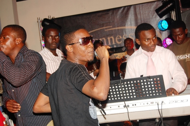 ...while his producer Jesse Jagz provided backing vocals