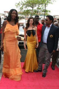 They're here! Chrissy Williams and Brion Rose were dressed by Nigerian designers - TYL Couture and MAI, respectively