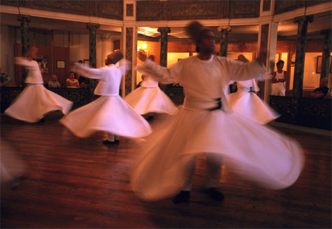 Whirling dervishes from Istanbul (photo by Phil Weymouth/Getty Images)